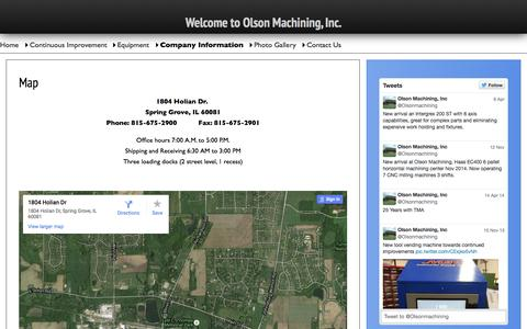 Screenshot of Maps & Directions Page olsonmachining.com - Map | Olson Machining | Experts in C.N.C. Prescision Machinging - captured Aug. 12, 2015