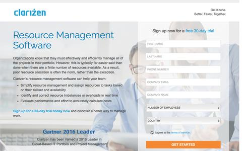 Screenshot of Landing Page clarizen.com - Resource Management Software l Clarizen - captured Aug. 6, 2016