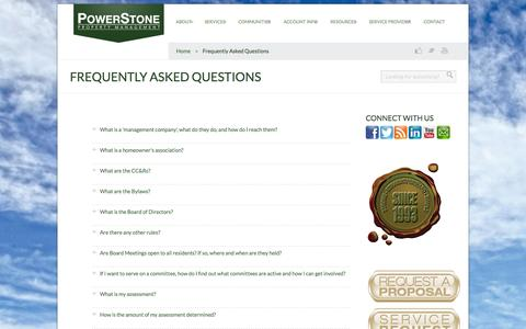 Screenshot of FAQ Page powerstonepm.com - Frequently Asked Questions | Powerstone Property Management - captured Oct. 2, 2014
