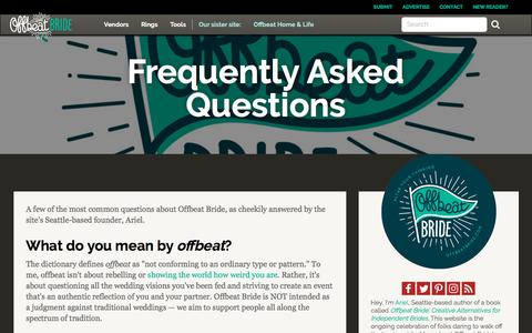 Screenshot of FAQ Page offbeatbride.com - Frequently Asked Questions | Offbeat Bride - captured Sept. 22, 2018