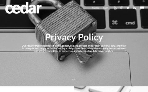 Screenshot of Privacy Page cedarrecruitment.com - Privacy Policy - Cedar Recruitment - captured July 2, 2018