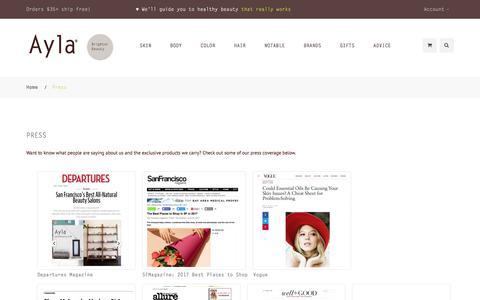 Screenshot of Press Page aylabeauty.com - Press  | Ayla - captured July 1, 2017