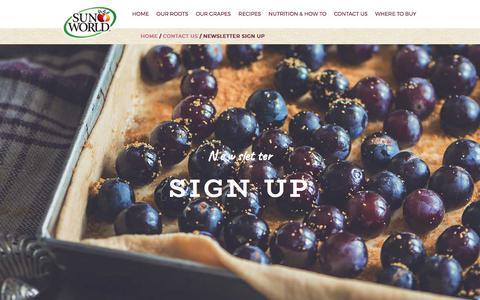 Screenshot of Signup Page sun-world.com - Newsletter Sign Up - Sun World - captured Oct. 24, 2017