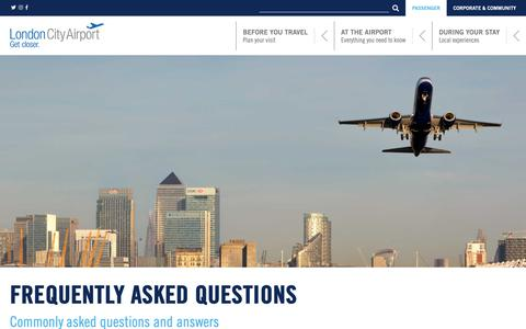 Screenshot of FAQ Page londoncityairport.com - Frequently asked questions | London City Airport - captured Dec. 8, 2018
