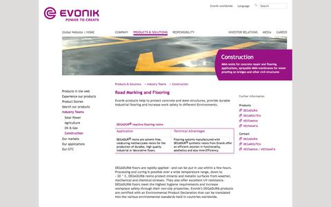 Road Marking and Flooring - Construction Industry - Evonik Industries - Specialty Chemicals