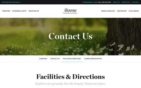 Screenshot of Locations Page boonefh.com - Facilities & Directions | Boone Funeral Home - Bossier City, LA - captured Jan. 31, 2017