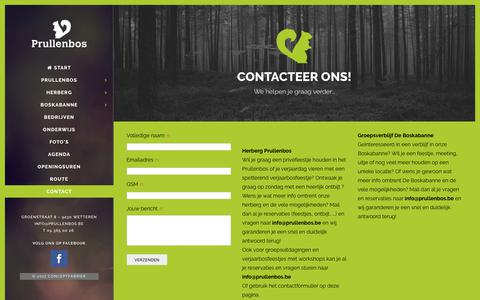 Screenshot of Contact Page prullenbos.be - Prullenbos & Boskabanne | contact - captured Sept. 19, 2017