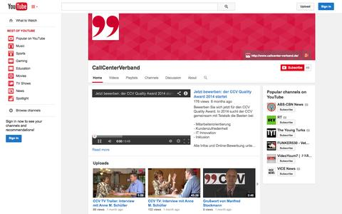 Screenshot of YouTube Page youtube.com - CallCenterVerband  - YouTube - captured Oct. 22, 2014