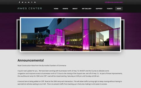 Screenshot of Press Page ames-center.com - News  - The Official Website of the Ames Center - captured Oct. 5, 2014