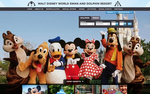Screenshot of Home Page swandolphin.com - Disney Hotels - Official site for Walt Disney World Swan and Dolphin - captured Oct. 7, 2015