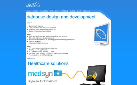 Screenshot of Home Page datasyn.co.nz - Data Synthesis Ltd: Database systems for healthcare workgroups. - captured Oct. 5, 2014