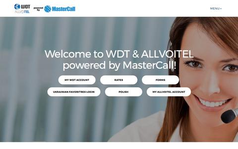 Screenshot of Home Page mywdt.com - WDT by MasterCall (WDT)888.60.60.938 - captured Oct. 22, 2017