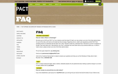 Screenshot of FAQ Page wearpact.com - PACT Apparel FAQ Super-Soft Organic Cotton Basics With A Cause - captured June 17, 2015