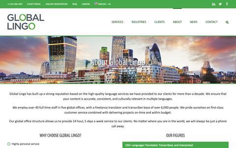 Screenshot of About Page global-lingo.com - About Global Lingo - Global Lingo - captured Nov. 4, 2018