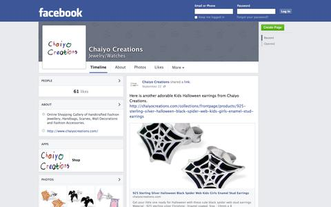 Screenshot of Facebook Page facebook.com - Chaiyo Creations | Facebook - captured Oct. 22, 2014