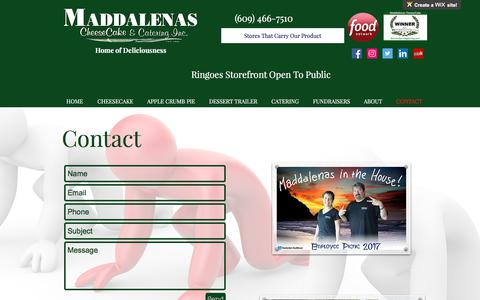 Screenshot of Contact Page maddalenascatering.com - Contact | Ringoes, NJ | Maddalena's CheeseCake and Catering - captured Oct. 4, 2017