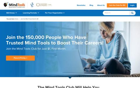 Screenshot of Signup Page mindtools.com - Join The Mind Tools Club - captured Dec. 1, 2019