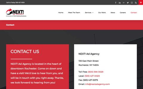 Screenshot of Contact Page nextadagency.com - Advertising Agency & Digital Media Company in Rochester NY | Next! Ad Agency - captured April 1, 2017