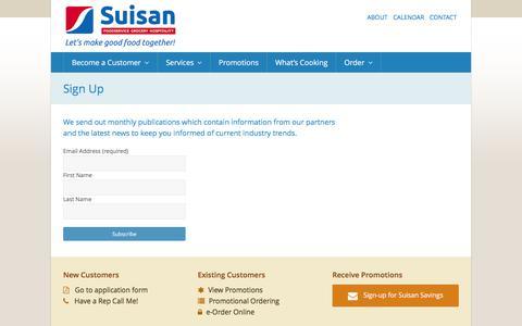 Screenshot of Signup Page suisan.com - Sign Up   Suisan Foodservice - captured Feb. 17, 2016