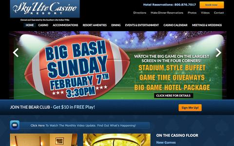 Screenshot of Home Page skyutecasino.com - Sky Ute Casino Resort   Premiere CO Entertainment, Gaming, Lodging & Dining - captured Jan. 11, 2016