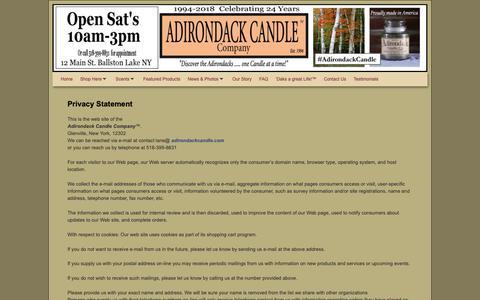Screenshot of Privacy Page adirondackcandle.com - Privacy • Adirondack Candle Company - captured Oct. 3, 2018