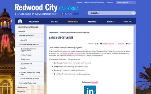 Screenshot of Jobs Page redwoodcity.org - City of Redwood City : Career Opportunities - captured June 23, 2017