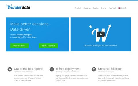 Screenshot of Home Page wunderdata.com - Wunderdata - Business Intelligence for eCommerce - captured Sept. 17, 2014