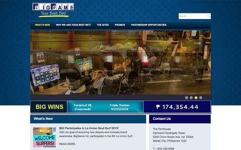 Screenshot of Home Page biggamecasino.ph - BigGame, Inc. - captured April 30, 2016
