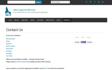 Screenshot of Contact Page idaholegalaid.org - Contact Us   Idaho Legal Aid Services - captured Oct. 6, 2014