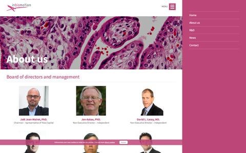 Screenshot of About Page inbiomotion.com - About us   Inbiomotion - captured Dec. 6, 2016