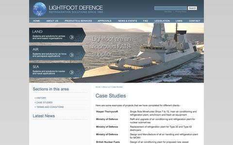 Screenshot of Case Studies Page lightfootdefence.com - Case studies provided by Lightfoot Defence - captured Oct. 3, 2014