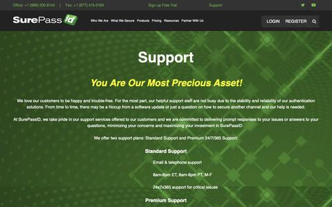 Screenshot of Support Page surepassid.com - Support - SurePassID - captured Oct. 20, 2018