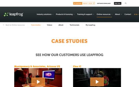 Screenshot of Case Studies Page leapfrog3d.com - Leapfrog Customer Stories| Case Studies | Video Testimonials | Leapfrog - captured April 7, 2017