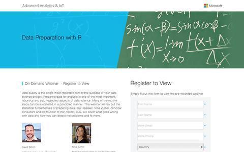 Screenshot of Landing Page microsoft.com - Data Preparation with R - captured April 5, 2016