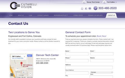 Screenshot of Contact Page Locations Page cutarellivision.com - Contact Us - Laser Eye Surgery Englewood | Cutarelli Vision - captured Sept. 30, 2014