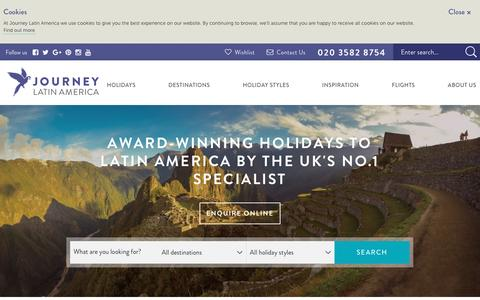 Screenshot of Home Page journeylatinamerica.co.uk - Central & South America Holidays  - Journey Latin America - captured Aug. 7, 2016