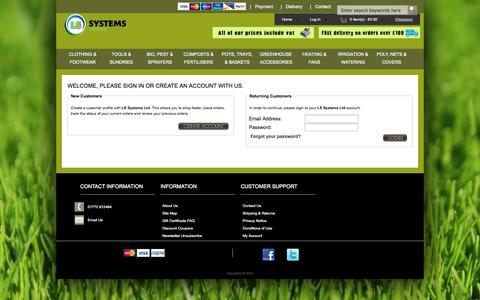 Screenshot of Login Page lssystems.co.uk - Login : LS Systems, Horticultural & Gardening Products Online - captured Oct. 1, 2014