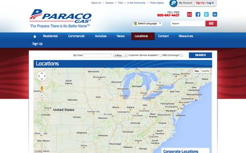 Screenshot of Locations Page paracogas.com - Locations & Service Areas | NY, NJ, CT, Massachusetts, Rhode Island Propane | Paraco Gas - captured Oct. 10, 2014