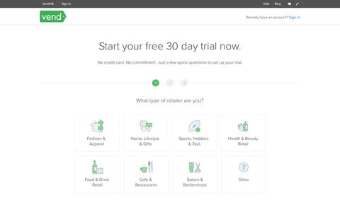 Screenshot of Signup Page Trial Page vendhq.com - Sign up for a free trial | Vend - captured April 9, 2018