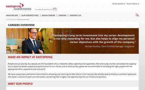 Screenshot of Jobs Page eastspring.com - Careers Overview | Eastspring Investments - captured Oct. 19, 2016