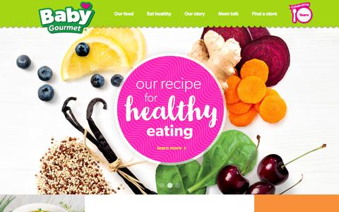 Screenshot of Home Page babygourmet.com - Baby Gourmet | Organic Baby Food - captured Feb. 7, 2016