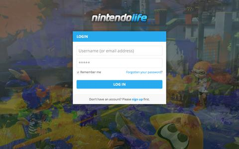 Screenshot of Login Page nintendolife.com - Nintendo Life - Login - captured Oct. 20, 2015