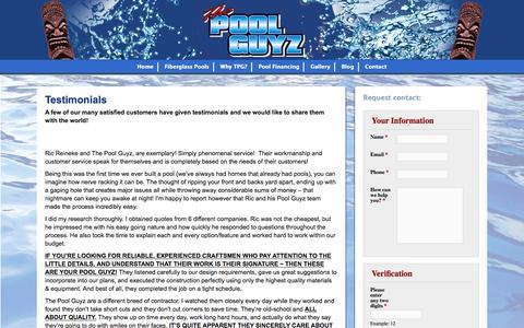 Screenshot of Testimonials Page thepoolguyz.com - Testimonials - The Pool Guyz - captured Jan. 11, 2016