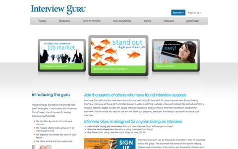 Screenshot of Home Page interviewguru.co.uk - Welcome to Interview Guru - Online interview training helping you master interview skills and techniques - captured Sept. 30, 2014