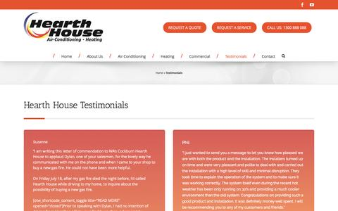 Screenshot of Testimonials Page hearthhouse.com.au - Hearth House Testimonials and Reviews - captured May 16, 2017