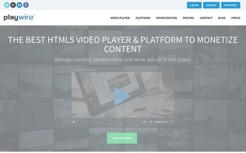 Screenshot of Home Page playwire.com - THE BEST HTML5 VIDEO PLAYER AND PLATFORM | Playwire - captured Jan. 22, 2016