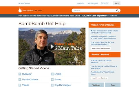 Screenshot of Support Page bombbomb.com - BombBomb Get Help - captured Oct. 22, 2014