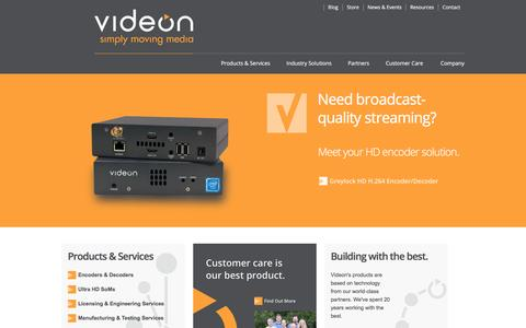 Screenshot of Home Page videon-central.com - Videon Central -- Media Solutions - captured May 9, 2017