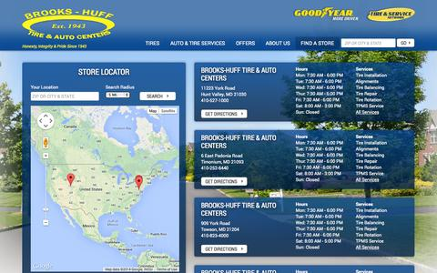 Screenshot of Contact Page Maps & Directions Page brookshuff.com - Tires and Auto Repair Service Stores in MD and PA | Brooks-Huff Tire & Auto Centers - captured Oct. 23, 2014