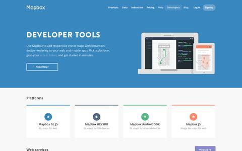 Screenshot of Developers Page mapbox.com - Developers | Mapbox - captured Nov. 21, 2015
